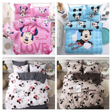 Mickey Minnie Mouse Duvet Cover Bed Sheet Pillowcases Disney Cartoon Bedding Set