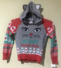 NWT Well Worn Girls Holiday Ugly Christmas Sweater Meowy Christmas Cat Sz 4/5