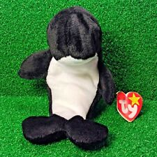 Ty Beanie Baby Waves The Orca Whale 1996 Retired Plush Toy MWMT - Free Shipping