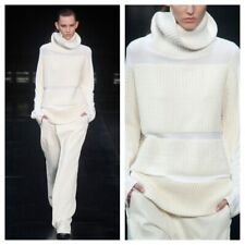New Helmut Lang Black Mesh Chunky Knit Striped Tunic Turtleneck Sweater L