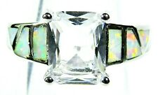 Silver 925 SF Size 10 Ring White Lab Fire Opal & 9*7mm White Sapphire