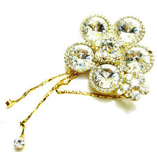USA BROOCH Rhinestone Crystal PIN fashion silver flower tassel prom