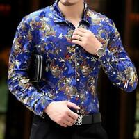 Korean Style Men Mulberry Floral Shirt Casual Dress Silk velvet Tops Long Sleeve