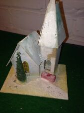 Vintage Christmas Village Putz Church Made In Usa Mica Cardboard Mid-Century