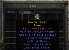 Diablo 2 Resurrected D2R  - Raven Frost 19 Dex   PC SC EU/NA/Asia