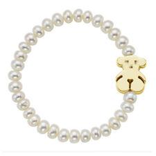 Cute Bear Bracelet 14k Yellow Gold Shell Bead Bracelet Woman Charm Jewelry