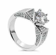 White Gold Plated Solitaire Fine Diamond Rings