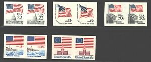 **US Error Imperf Pair Stamps #1597, 1622a, 1891a, 1894a, 2115f MNH, Fresh, XF.