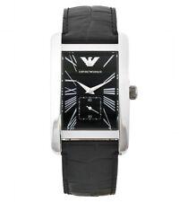 EMPORIO ARMANI Black Dial Leather Strap Men's Watch AR0143