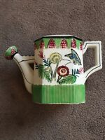 Vintage Ceramic Watering Can Butterfly & Floral Textured Made in Japan Colorful