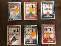 Vintage Lot 6 Hoyle Pinochle Official Playing Cards Plastic Coated USA Red Blue