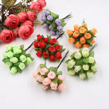 12 Heads Artificial Flower Fake Mini Rose Crafts Garden Party Decor Bridal 07CA