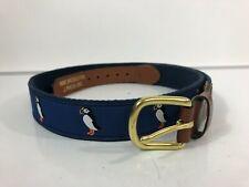 J Press Men's Navy Blue PENGUIN Print Belt Leather Trim Size 34
