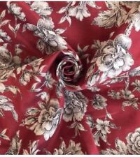 10 Metres Classic Floral Cotton Brocade Curtain & Interior Fabric In Cranberry