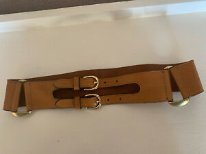 OASIS (S) Ladies Tan Leather Double Buckle 5.5cm Wide Genuine Leather Belt