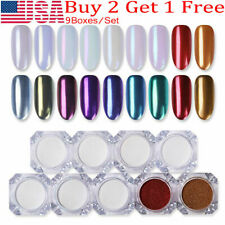 9Pcs Pearl Nail Art Glitter Mirror Powder Dust Chrome Pigment Diy Decoration Set