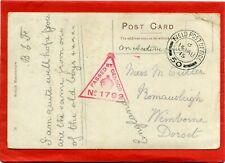 Postcard Field Post Office 50 Postmark, Censor No 1792, To Wimborne, Dorset 1915