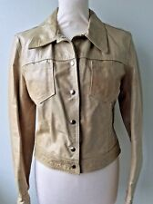 SASCH real Italian leather ladies beige tan crinkly marbled patent style jacket