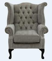 Chesterfield Armchair Queen Anne High Back Wing Chair Velluto Fudge Fabric SS