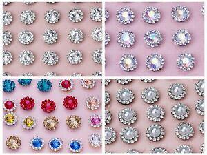 50 Silver Bling Crystal Rhinestone Pearl Flatback Button Beads 11mm Wedding
