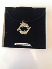 Pisces PP-SS01Motif Pewter  PENDENT ON A  BLACK CORD  Necklace