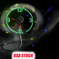 Mini USB Powered LED Cooling Flashing Real Time Display Function Clock Fan USA