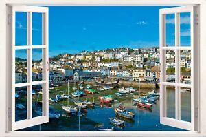 Brixham Harbour Devon Boats Sea 3D Effect Window Canvas Picture Wall Art Prints