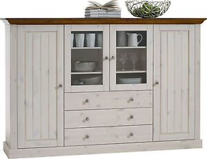 Riva White Painted Provence Glazed 4 Door 3 Drawer Highboard 187cm 47cm 123cm
