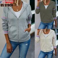 Women's Zip Up Hoodies Sweatshirt Ladies Hooded Long Sleeve Tops Jumper Pullover
