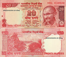 India 20 Rs 2016 S Inset 00A First Prefix Paper Money Bank Note Unc Rajan New