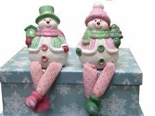 Pink & Green Snowman - Pack of two (Tree / Birdbox)
