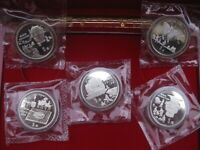 China 5 x 5 Yuan 1992 discovery-set 4 x double sealed Box & COA Mintage 15000