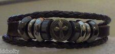 Metal Cross Studded Surfer Leather Bracelet Wristband Cuff Men's BROWN US Seller