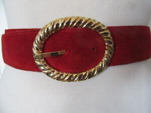 VINTAGE 1980'S DEEP RED SUEDE BELT FANCY GOLD TONE BUCKLE UK  SIZE 10 -12