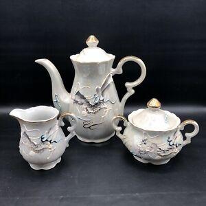 Vtg Betsons White Luster Moriage Dragon Ware Porcelain Tea Pot Sugar Lid Creamer
