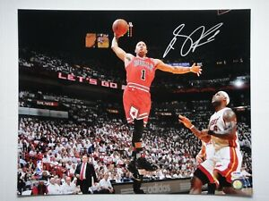 DERRICK ROSE PSA/DNA SIGNED 16X20 PHOTOGRAPH AUTOGRAPH CHICAGO BULLS MVP LEBRON