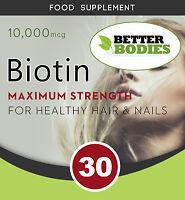 Biotin 10000 mcg Tablets Max Strength Hair Skin and Nails