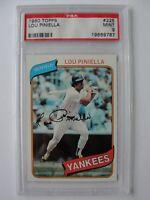 1980 Topps New York Yankees #225 LOU PINIELLA PSA 9 Mint Baseball Card