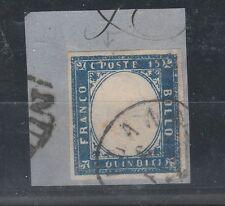 FRANCOBOLLI 1863 REGNO C. 15 AZZURRO VERDASTRO Z/1998