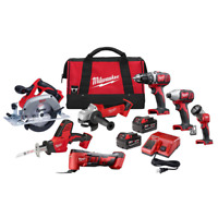 Cordless Power Tool Set Kit 7 Tool 2 Ah Batteries Charger Bags M18 Milwaukee NEW