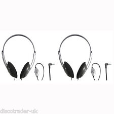 2 PAIRS of STEREO HEADPHONES IDEAL FOR TELEVISION 5 METRE LEAD SOUNDLAB A088C