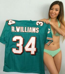 Ricky Williams Miami Dolphins authentic NFL Pro Line stitched aqua 34 jersey NEW