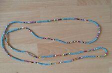 "Turquoise/multi Sead Bead Long 58"" Necklace Bracelet Hippie Love Beach Festival"