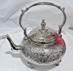 Moroccan Large Tea Pot Handmade Serving 12 Cups Brass Silver Plated Fes African