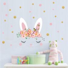 Pink Rabbit Wall Sticker Flower Polka Dot Vinyl Decal Baby Nursery Girls Room
