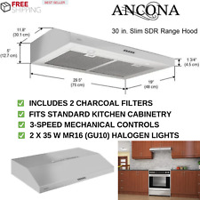 Non-vented Stainless Steel Under Cabinet Range Hood 30 in With 3-Speed Controls