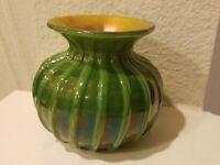 "Lundberg Studios 1999 Iridescent  Art Glass Vase 3 1/2""h"