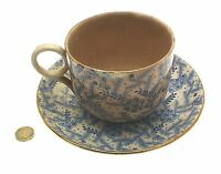 Antique Breakfast Cup and Saucer Staffordshire Blue and White c1880