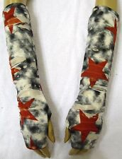 Fingerless Gloves Two Layer Slash Fabric Grey Cream With Red Star Boho Hippy