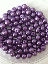 6mm Glass Faux Pearls - Purple (100 Beads) Jewellery Making